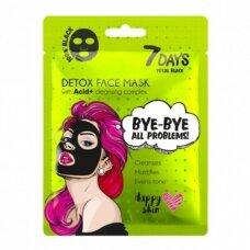7 DAYS Juoda detox kaukė veidui su rūgštimi lakštinė, 25 g