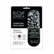 "BIOLOGICA tekstilinė kaukė veidui su juodąja anglimi ""Perfect d-toxing"", 22 ml"