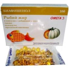 Biafišenol žuvų taukai su moliūgų, medetkų ir kviečių gemalų aliejumi, kapsulės, 100 kapsulių po 0,3 g