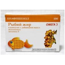 Biafišenol žuvų taukai su šaltalankių aliejumi ir vitaminu E 100 kapsulių po 0,3 g