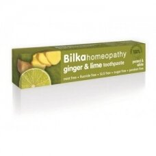 Bilka Imbieras ir Laimas homeopatinė balinanti dantų pasta, 75 ml.