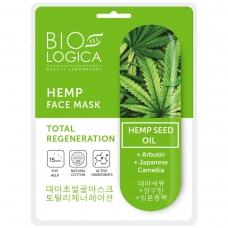 """BIOLOGICA tekstilinė kaukė veidui su kanapių aliejumi """"Total regeneration"""", 22 ml"""