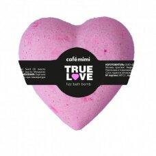 Cafe Mimi rausvas šnypščiantis vonios burbulas Tikra meilė, širdutė, 115 g