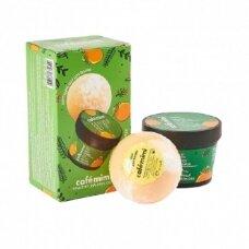 CAFÉ MIMI rinkinys Kvapnusis apelsinas (kremas kūnui 110 ml ir putojantis kamuolys 120 g)