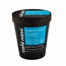 Cafe Mimi valomasis šampūnas – šveitiklis plaukams ir galvos odai PLAUKŲ AUGIMAS, 330 g
