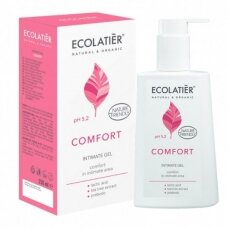 """ECOLATIER intymios higienos gelis """"Comfort"""", su pieno rūgštimi ir probiotiku, 250 ml"""
