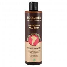 """ECOLATIER Keratininis šampūnas plaukų atstatymui ir augimui """"Amazonian Acai"""", 250 ml"""