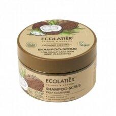 ECOLATIER ORGANIC šveičiamasis šampūnas plaukams ir galvos odai, giliam valymui KOKOSAS, 300 g