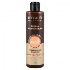 """ECOLATIER Šampūnas suteikiantis apimties ploniems ir silpniems plaukams """"Russian Sea Buckthorn"""", 250 ml"""