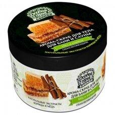 """OSOBAJA SERIJA Aromatingas kūno šveitiklis pirčiai """"Medus ir cinamonas"""", 500 ml"""