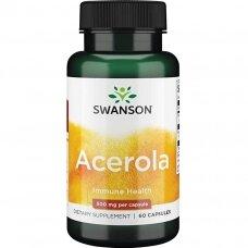 SWANSON Acerola 500mg ir Natūralus Vitaminas C 125mg N60