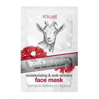 """VOLLARE drėkinamoji veido kaukė nuo raukšlių """"Ožkos pienas"""", 2x5 ml"""